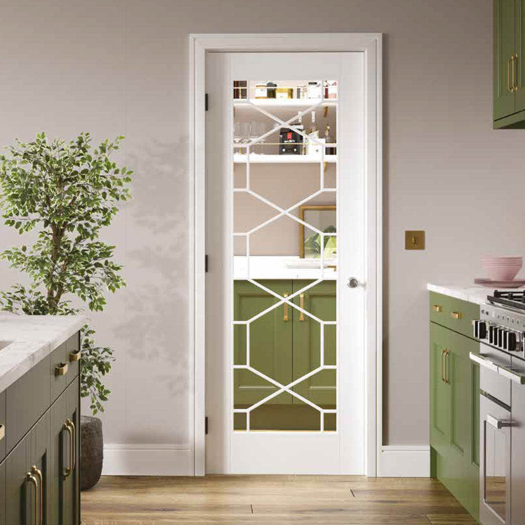 Orly Door - Clear Glass - White Primed