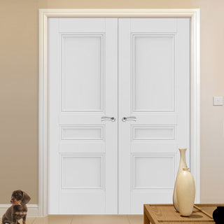 Image: J B Kind White Classic Osborne Panel Primed Fire Door Pair - 1/2 Hour Fire Rated