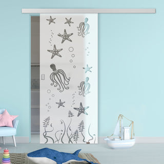 Image: Single Glass Sliding Door - Octopus 8mm Obscure Glass - Clear Printed Design with Premium Track