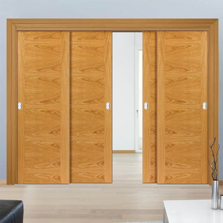 Image: Thruslide Brisa Ostria Flush Oak 4 Sliding Doors and Frame Kit - Prefinished