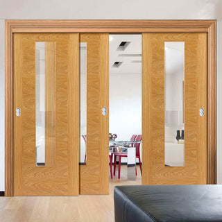 Image: Thruslide Brisa Ostria Flush Oak 3 Sliding Doors and Frame Kit - Clear Glass - Prefinished
