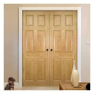 Image: Oxford American White Oak Veneer Panel Door Pair - Prefinished