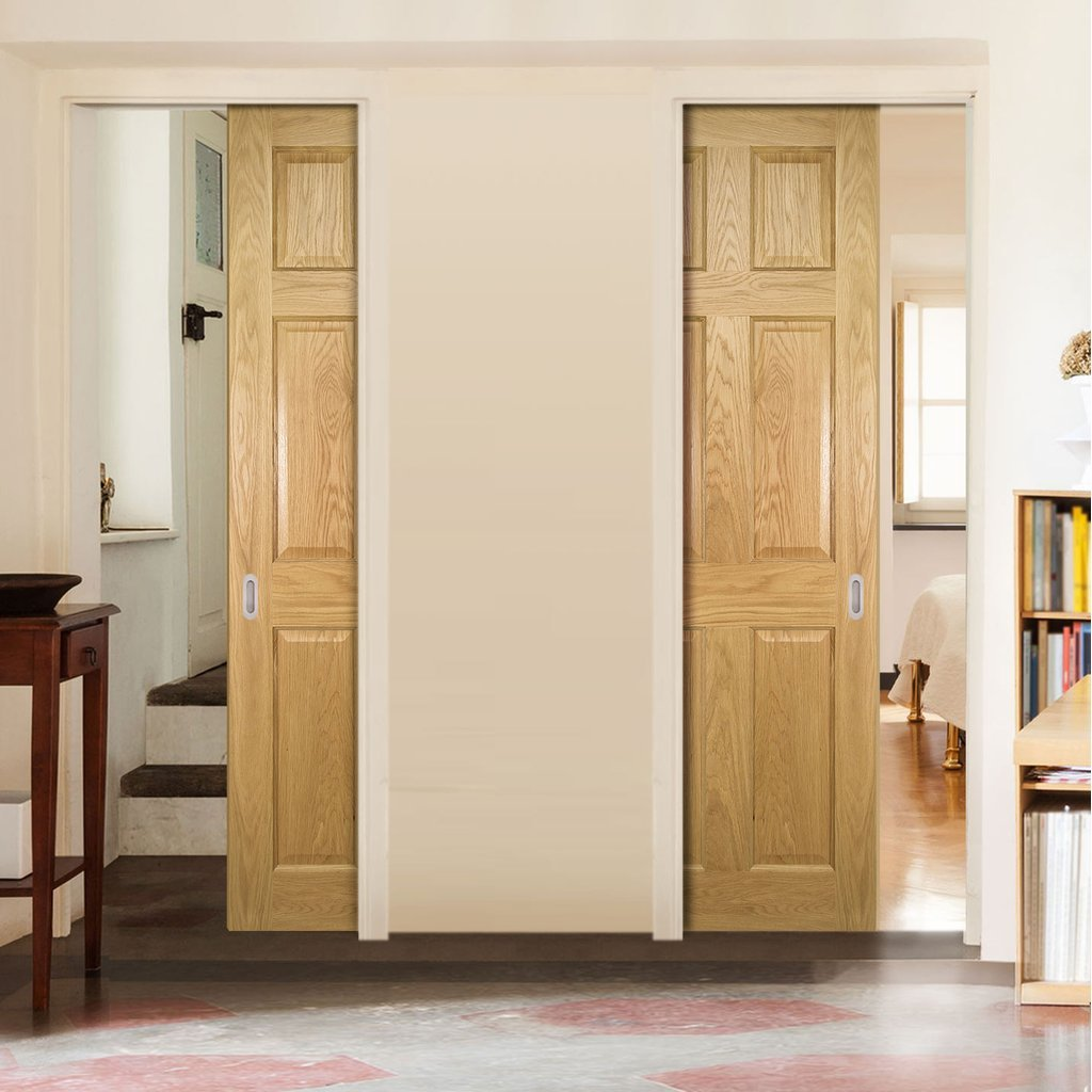Oxford American White Oak Veneer Panel Unico Evo Pocket Doors - Prefinished