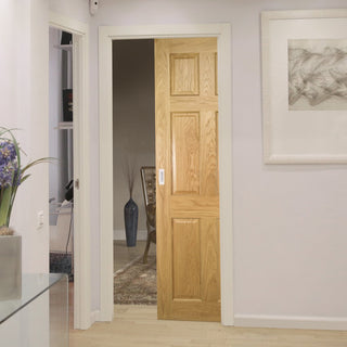 Image: Oxford American White Oak Veneer Panel Single Evokit Pocket Door - Prefinished