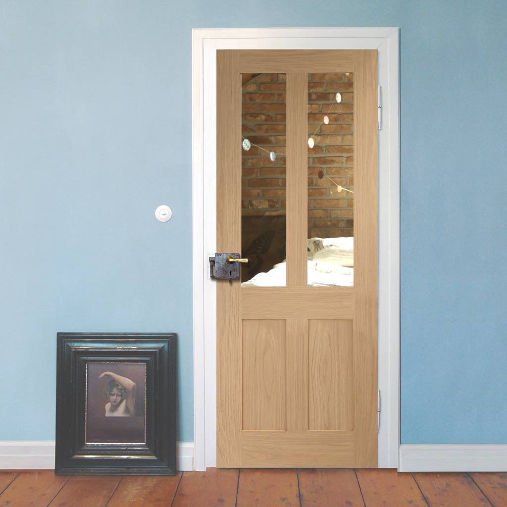 Door and Frame Kit, Malton Oak Shaker 2 Panelled - 2 Pane Door - Clear Glass