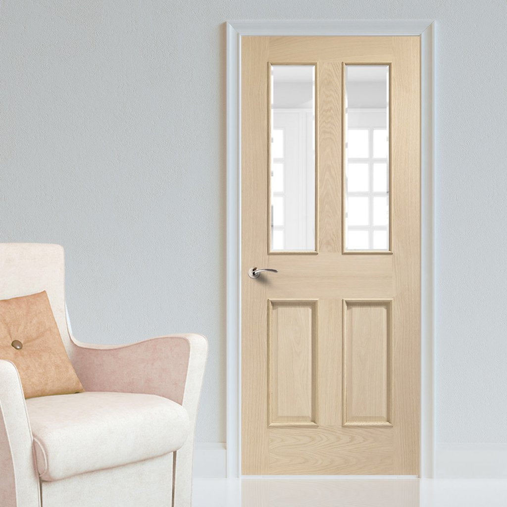 Oak interior door with elegant bevelled glass