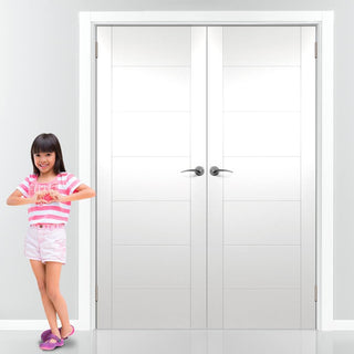 Image: Simpli Double Door Set - Palermo Flush Door - White Primed