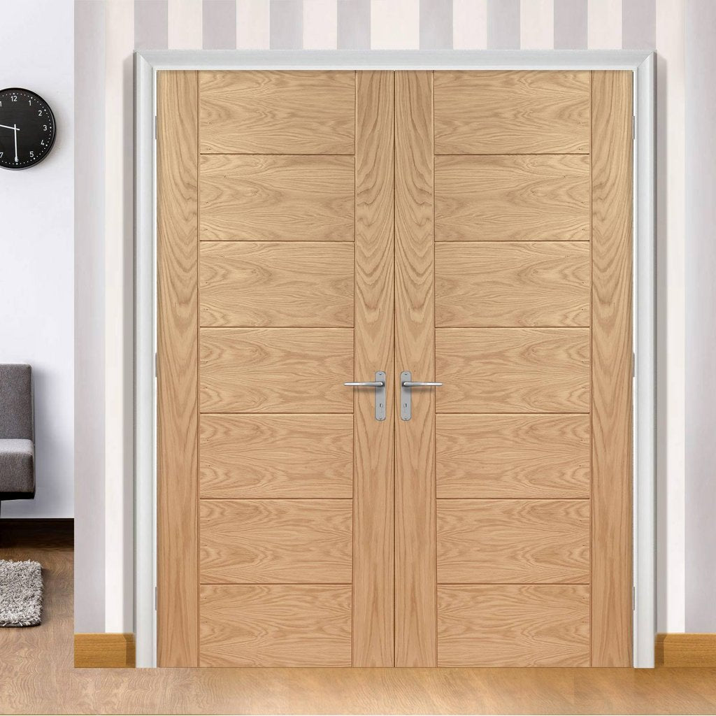Bespoke Palermo Flush Oak Door Pair - Panel Effect