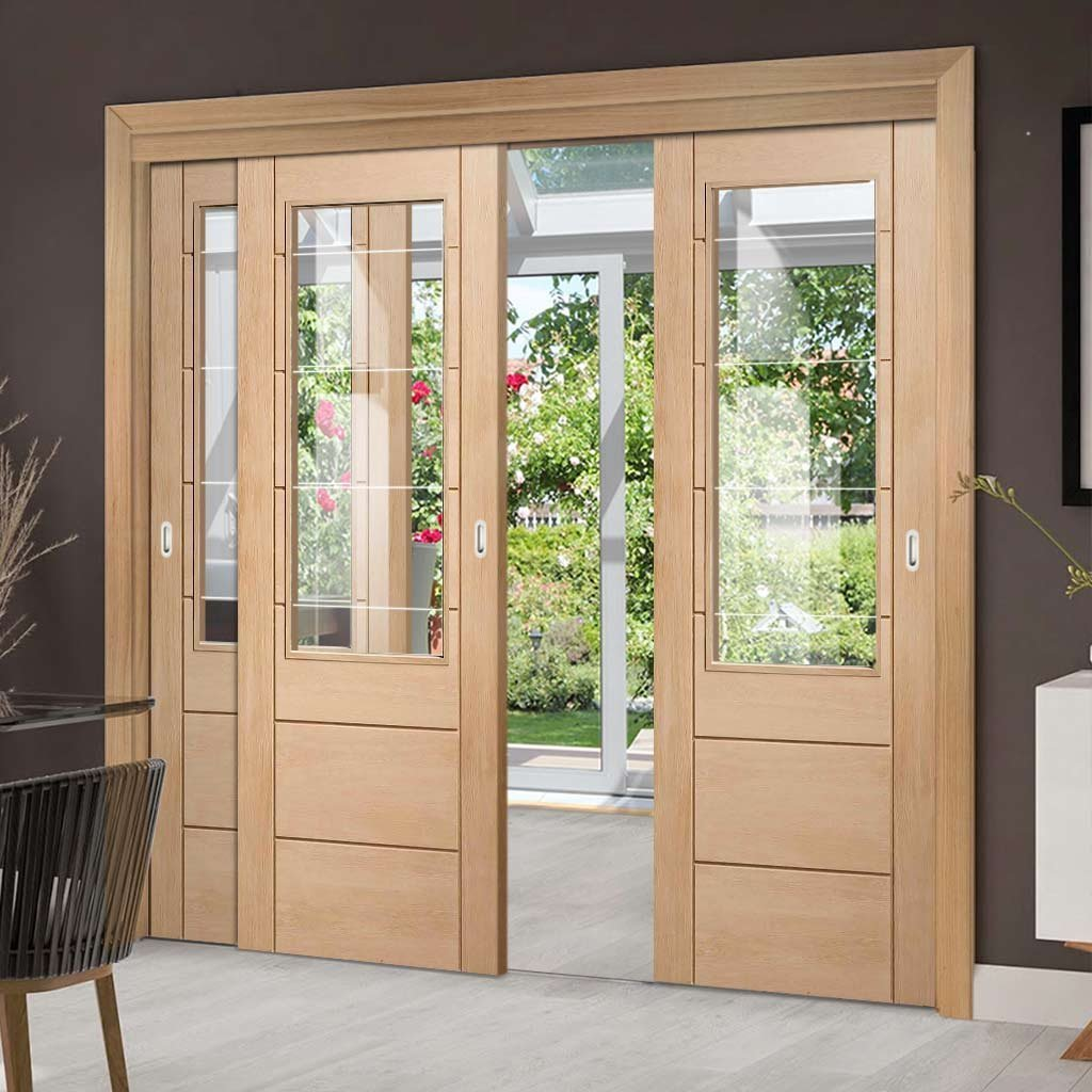 Three Sliding Doors and Frame Kit - Palermo Oak 2XG Door - Clear Etched Glass