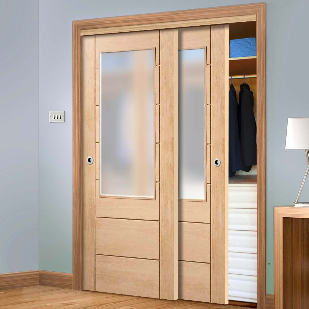 Bespoke Thruslide Palermo Oak 2XG Glazed 2 Door Wardrobe and Frame Kit