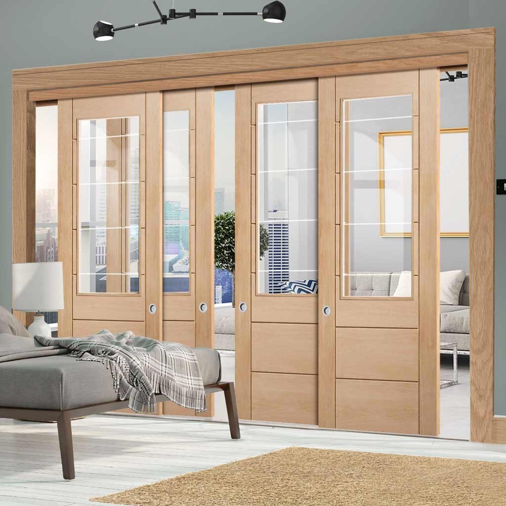 Four Sliding Doors and Frame Kit - Palermo Oak 2XG Door - Clear Etched Glass