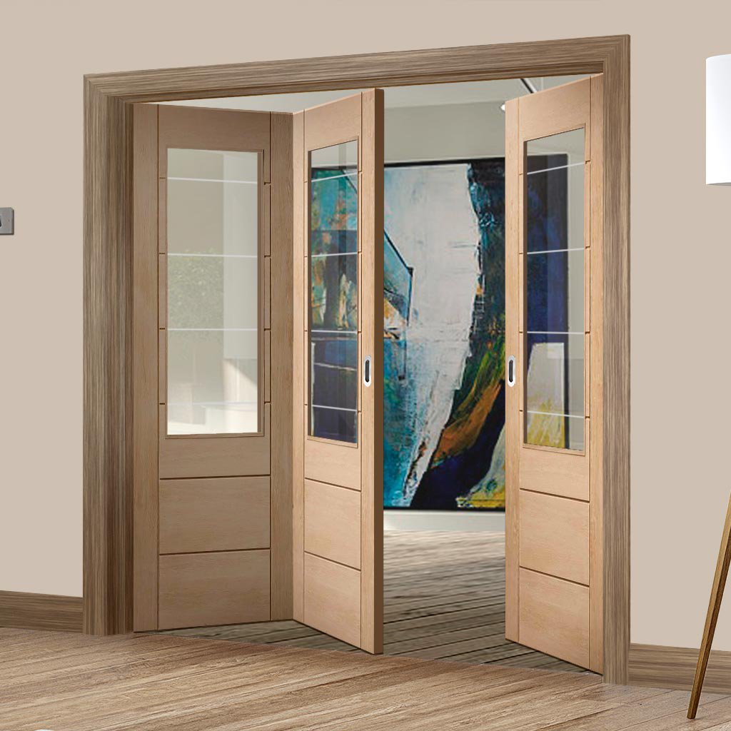 Three Folding Doors & Frame Kit - Palermo Oak 2XG 2+1 - Clear Etched Glass - Unfinished