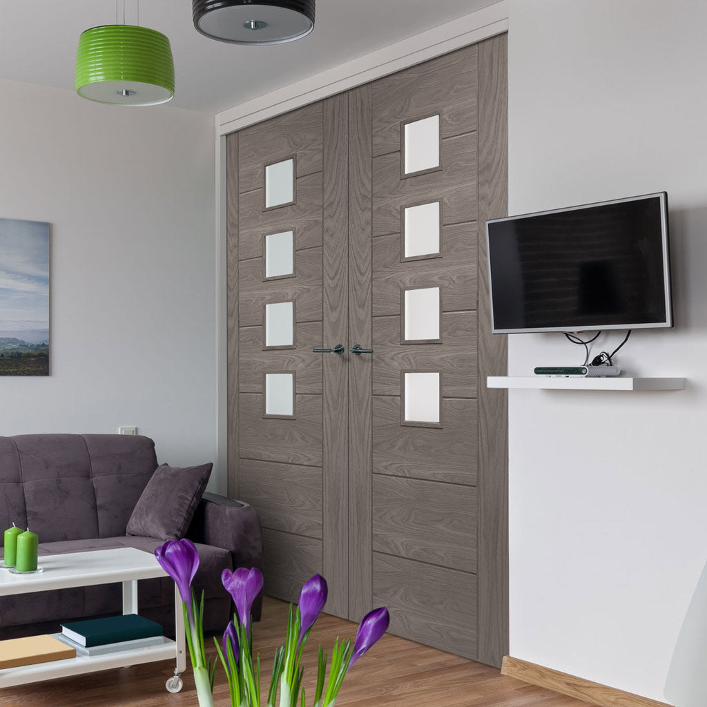Prefinished Palermo Oak Door Pair - Obscure Glass - Choose Your Colour
