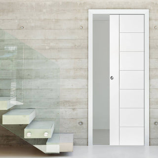 Image: Palermo Flush Single Evokit Pocket Door - Primed