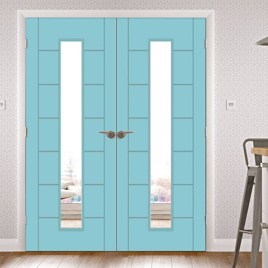 Prefinished Bespoke Palermo 1L Glazed Door Pair - Choose Your Colour