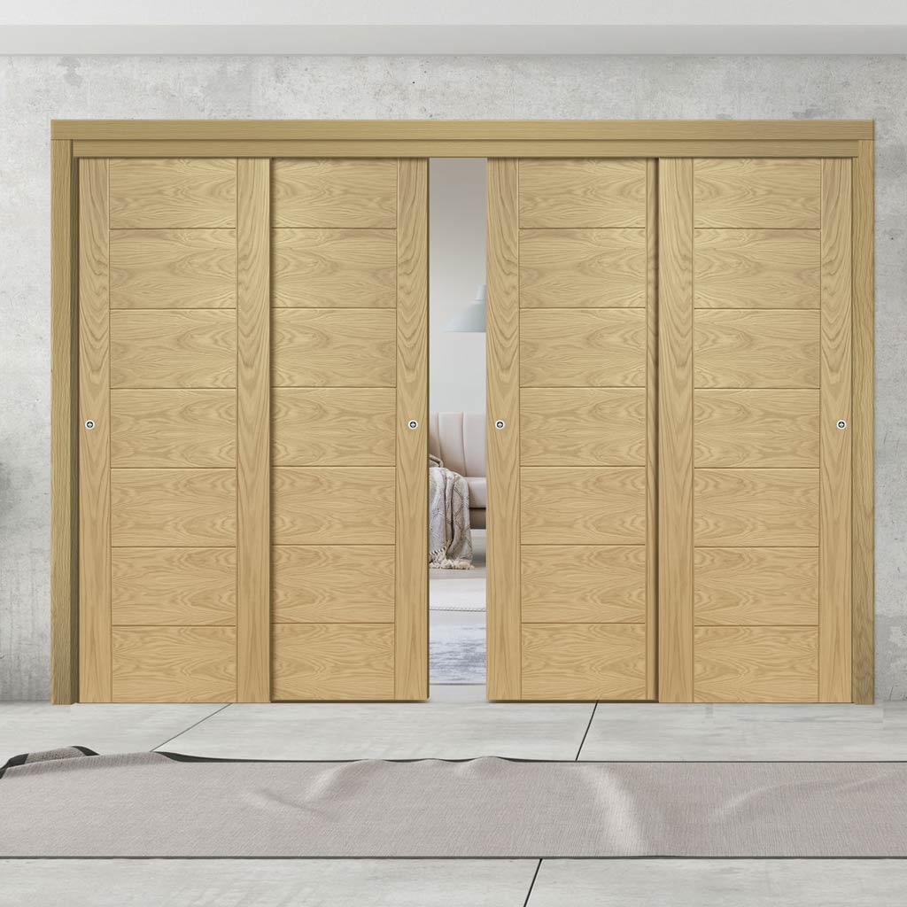 Four Sliding Doors and Frame Kit - Palermo Essential Oak Door - Unfinished