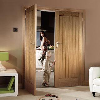 Image: Suffolk Essential Oak Door Pair - Unfinished