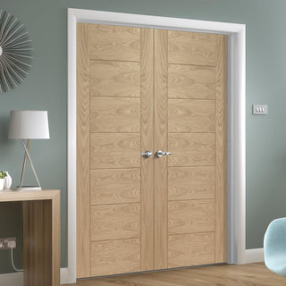 Image: Palermo Essential Oak Door Pair - Unfinished