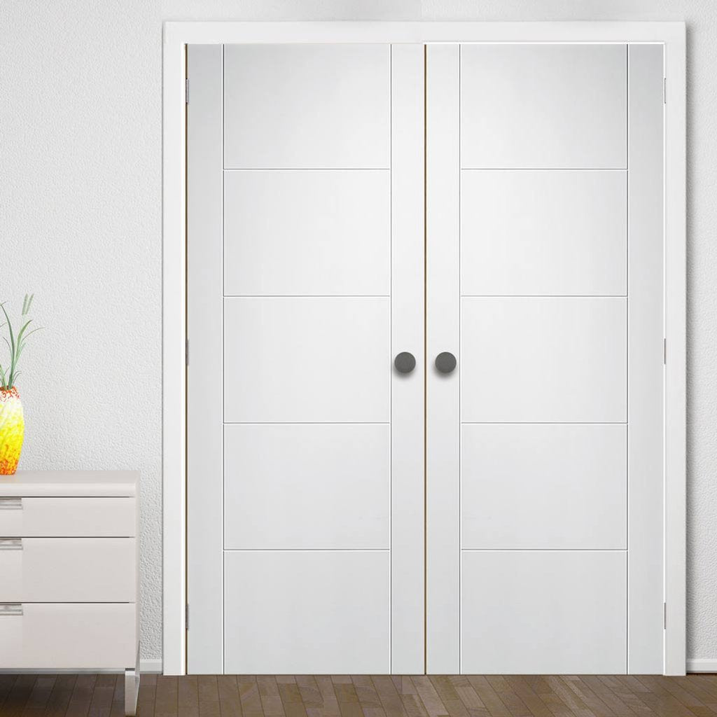 Bespoke Palermo Fire Door Pair - 1/2 Hour Fire Rated - White Primed