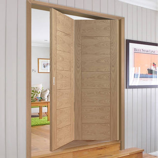 Image: Bespoke Thrufold Palermo Flush Oak Folding 2+0 Door - Panel Effect