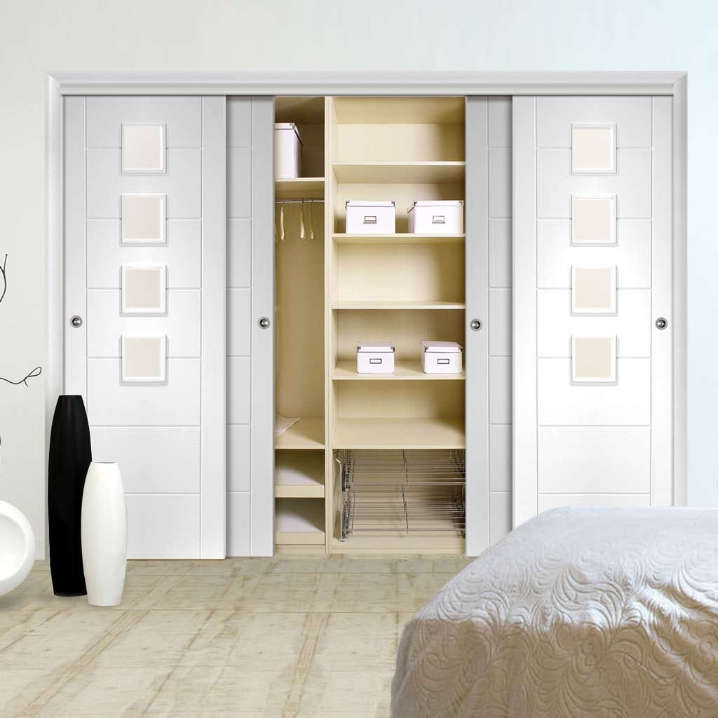Thruslide Palermo 4 Door Wardrobe and Frame Kit - Obscure Glass - White Primed
