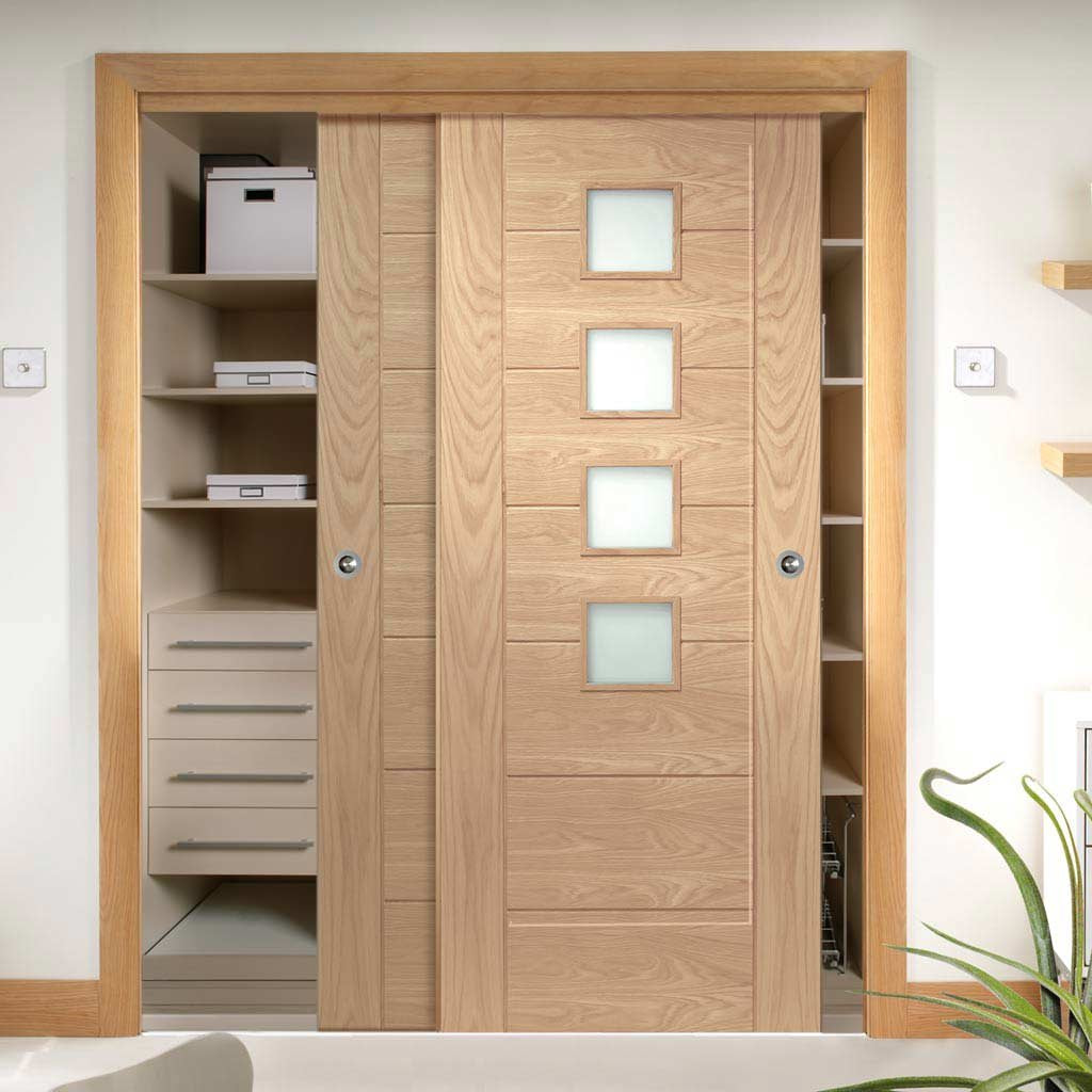 Bespoke Thruslide Palermo Oak 4 Pane Glazed 2 Door Wardrobe and Frame Kit