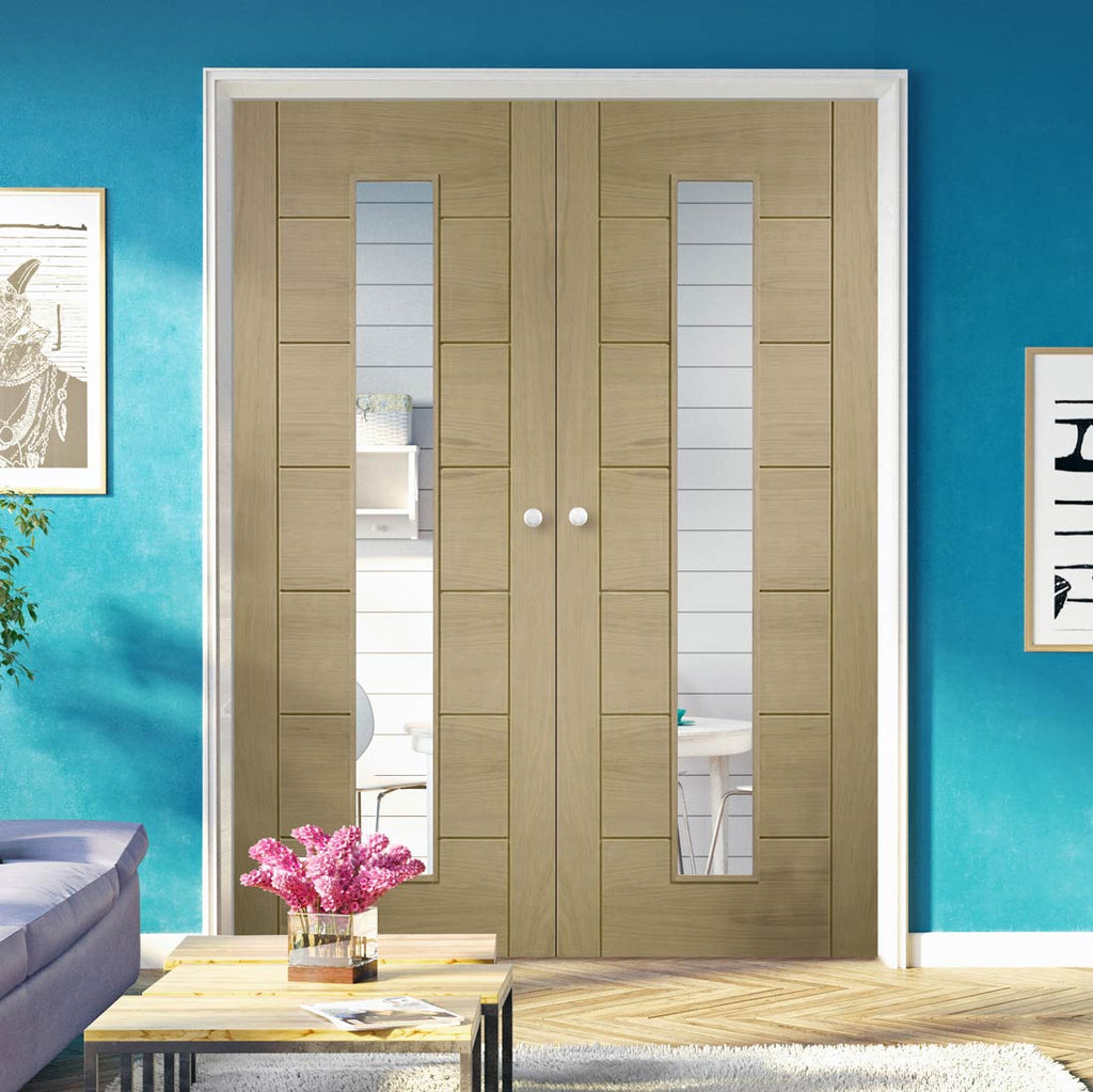 Prefinished Palermo Oak Door Pair - Clear Glass - Choose Your Colour