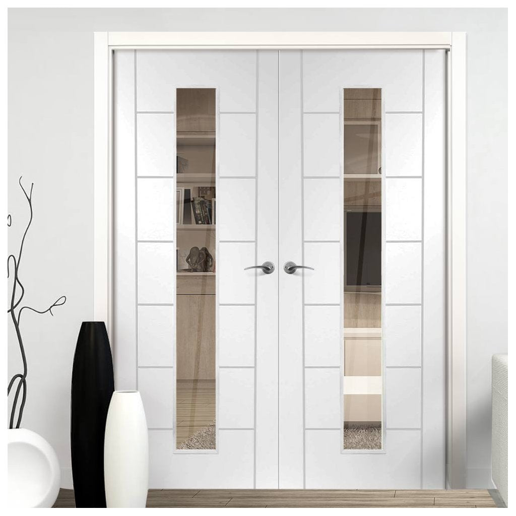 Palermo 1 Pane Flush Door Pair - Clear Glass - White Primed