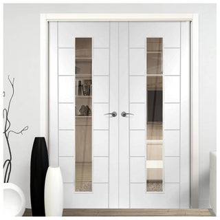 Image: Palermo 1 Pane Flush Door Pair - Clear Glass - White Primed