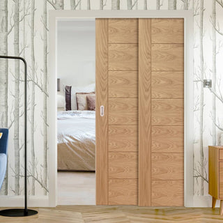 Image: Palermo Oak Veneer Staffetta Twin Telescopic Pocket Doors - Prefinished