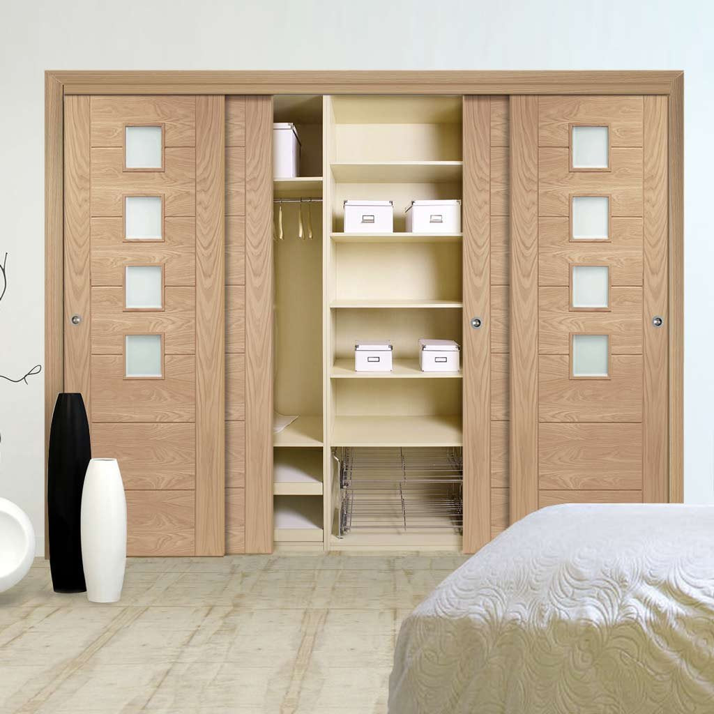 Bespoke Thruslide Palermo Oak Glazed 4 Door Wardrobe and Frame Kit - Prefinished