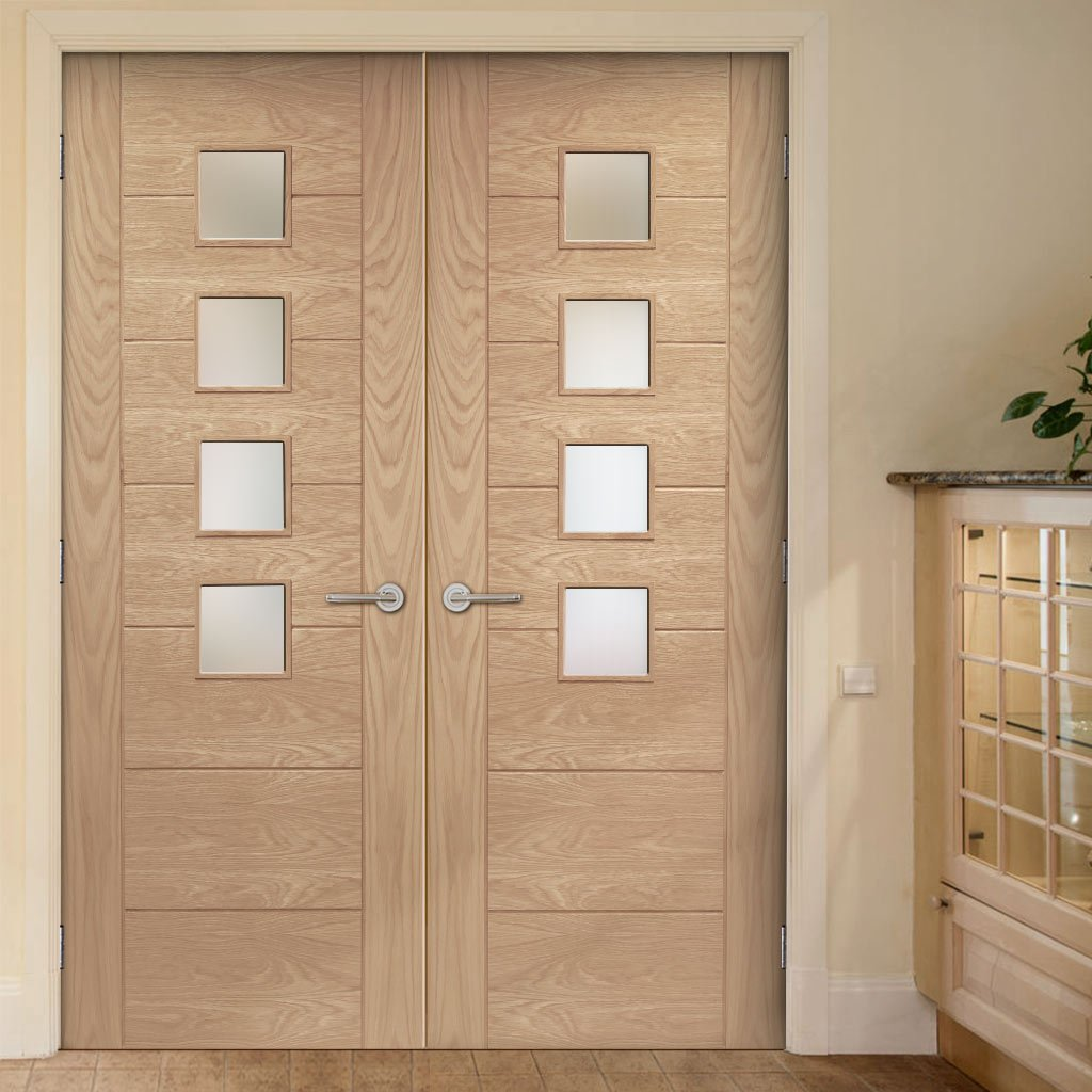 Bespoke Palermo Oak Fire Door Pair - Obscure Glass - 1/2 Hour Fire Rated