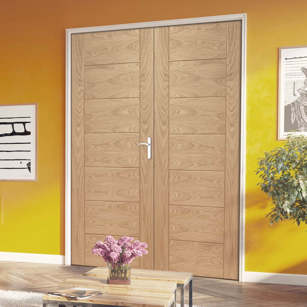 Fire Rated Palermo Oak Door Pair - 1/2 Hour Rated - Prefinished