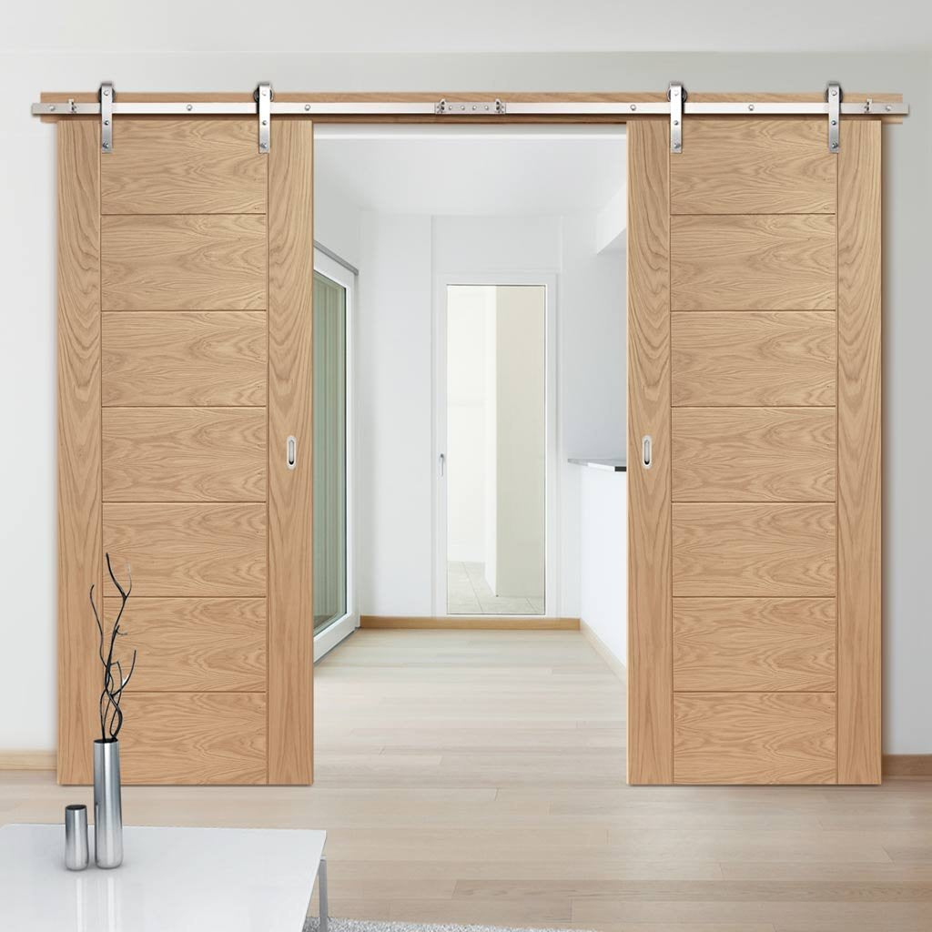 Double Sliding Door & Track - Palermo Oak Doors - Panel Effect - Prefinished