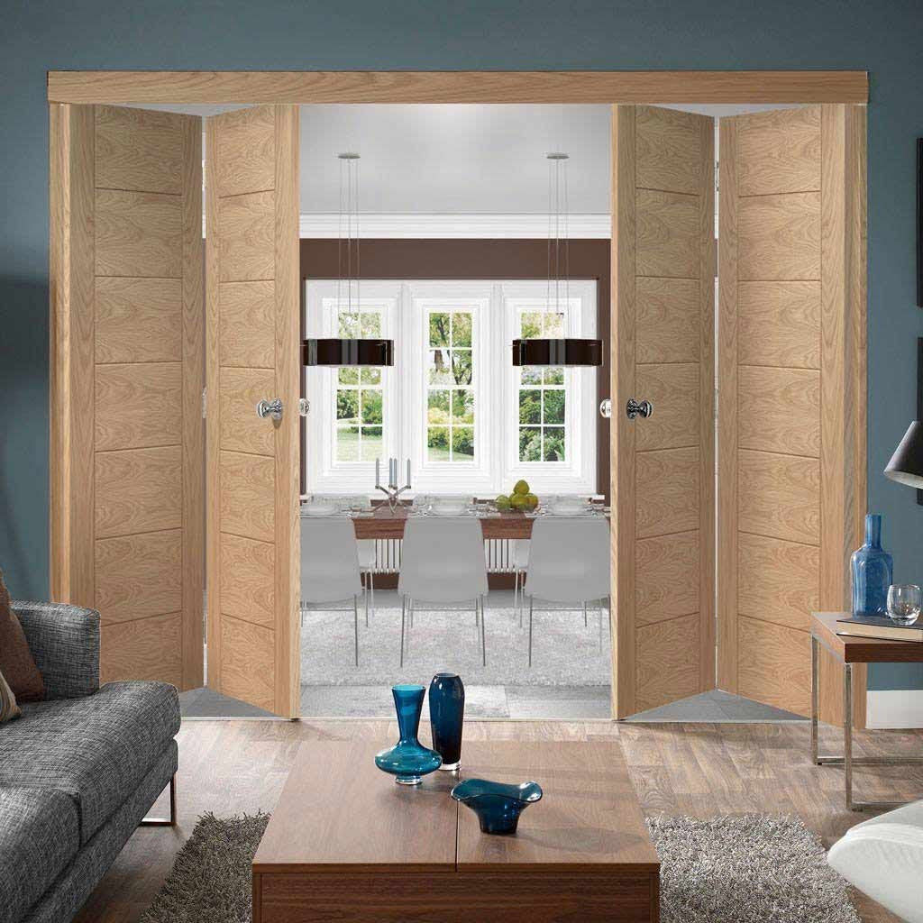 Four Folding Doors & Frame Kit - Palermo Flush Oak 2+2 - Unfinished