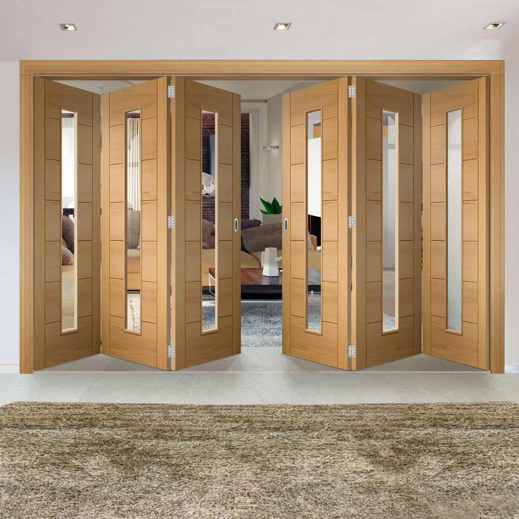 Bespoke Thrufold Palermo Oak 1 Pane Glazed Folding 3+3 Door