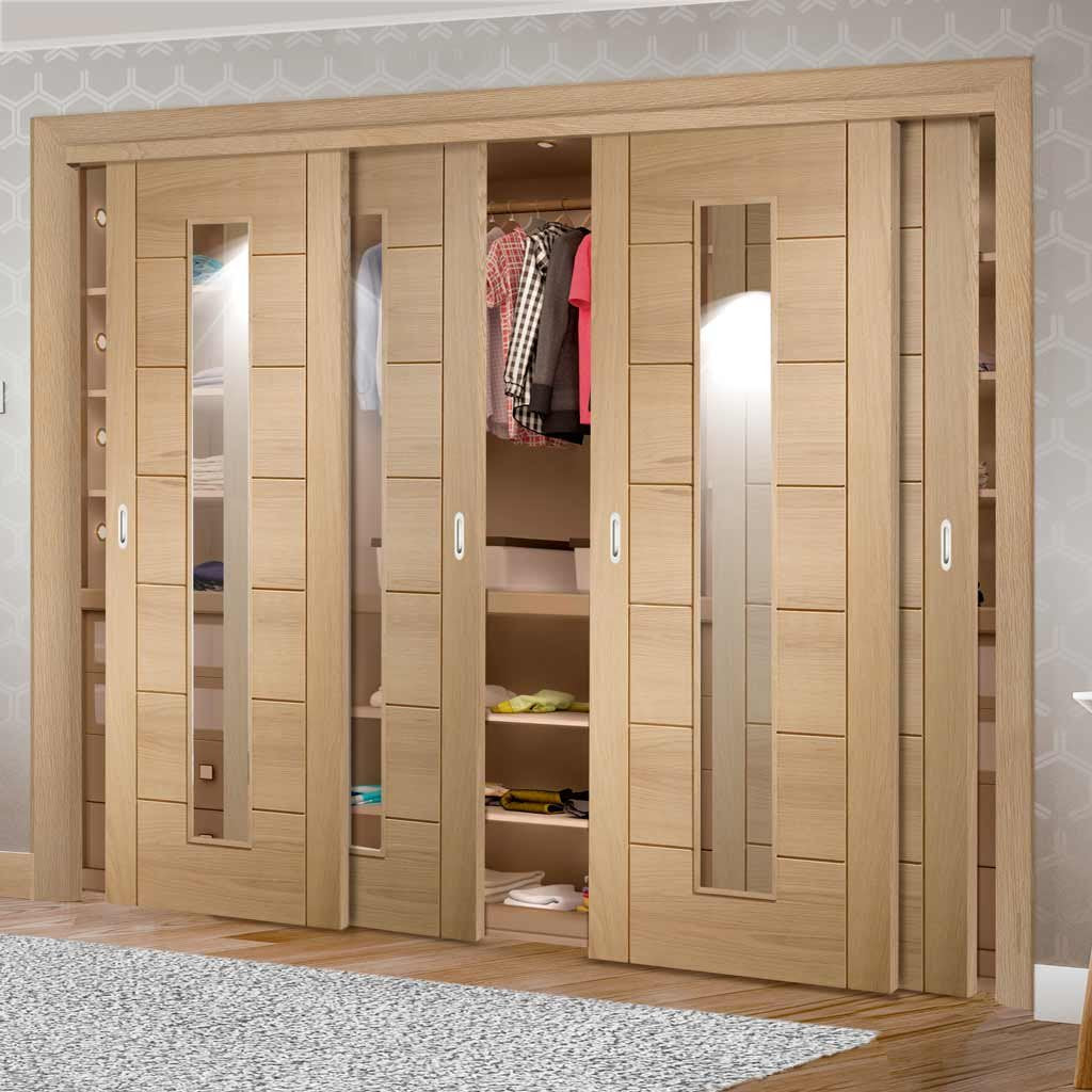 Bespoke Thruslide Palermo Oak 1 Pane Glazed 4 Door Wardrobe and Frame Kit