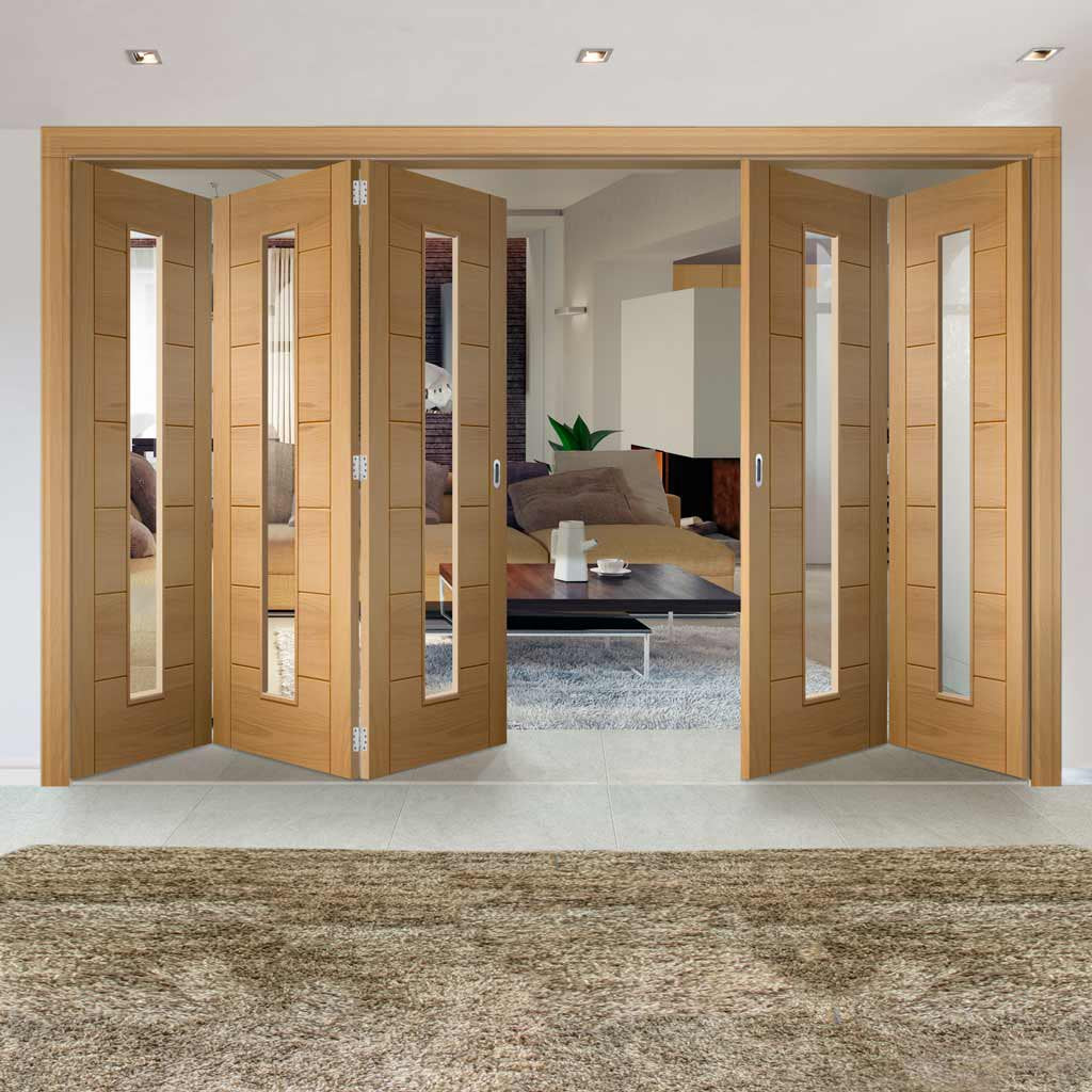 Five Folding Doors & Frame Kit - Palermo Oak 1 Pane 3+2 - Clear Glass - Unfinished