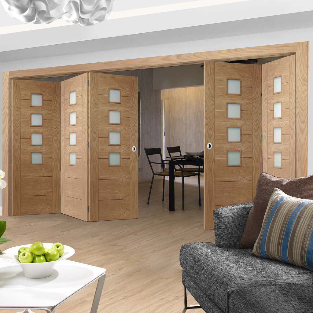 Bespoke Thrufold Palermo Oak Glazed Folding 3+2 Door - Prefinished