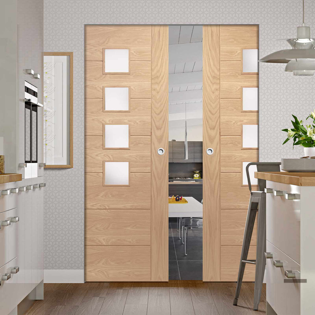 Palermo Oak Absolute Evokit Double Pocket Door - Frosted Glass - Prefinished