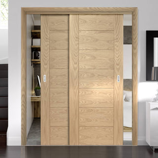 Image: Thruslide Palermo Flush Oak - 2 Sliding Doors and Frame Kit