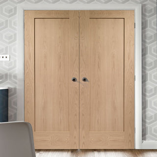 Image: Bespoke Pattern 10 Oak 1 Panel Door Pair - Prefinished