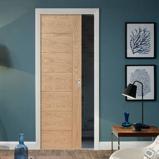 Image: Palermo Flush Oak Single Evokit Pocket Door