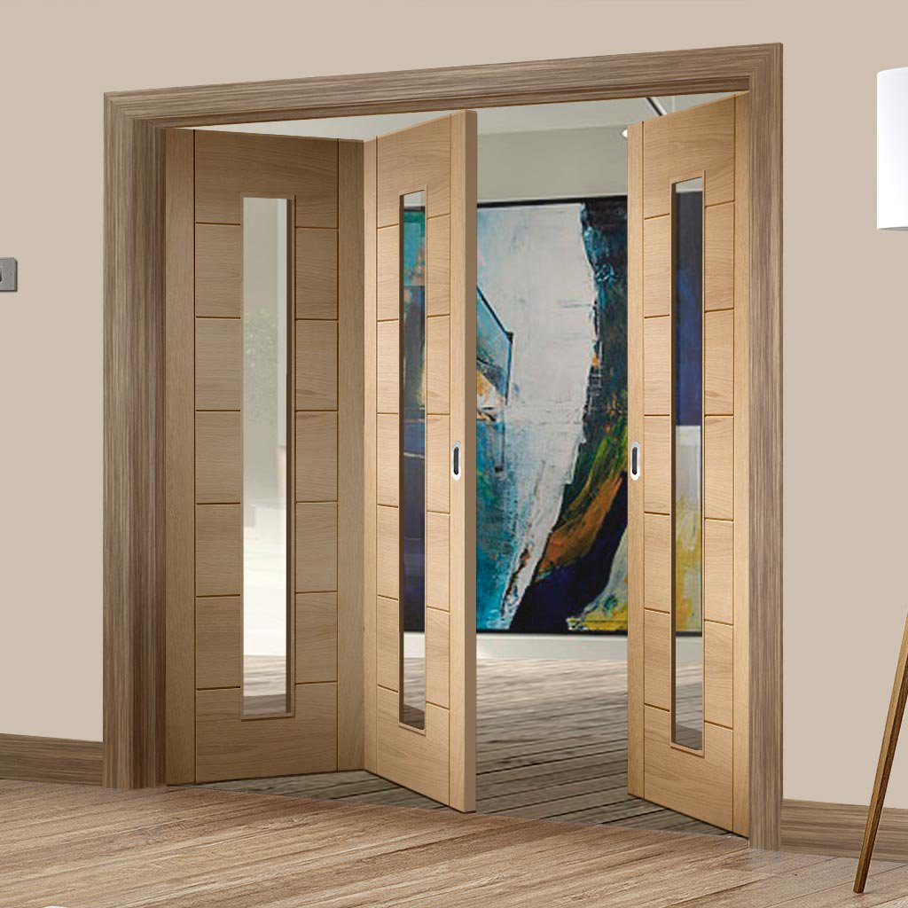 Three Folding Doors & Frame Kit - Palermo Oak 1 Pane 2+1 - Clear Glass - Unfinished
