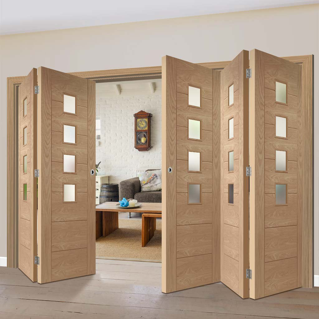 Five Folding Doors & Frame Kit - Palermo Oak 4 Pane 3+2 - Obscure Glass - Unfinished