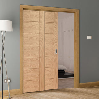 Image: Palermo Oak Veneer Staffetta Twin Telescopic Pocket Doors
