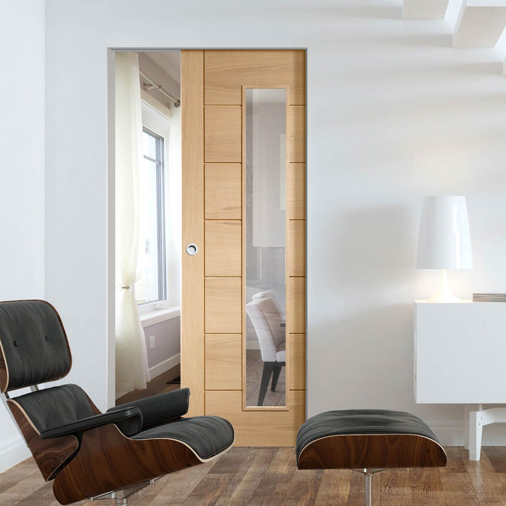 Palermo Oak Absolute Evokit Pocket Door - Clear Glass