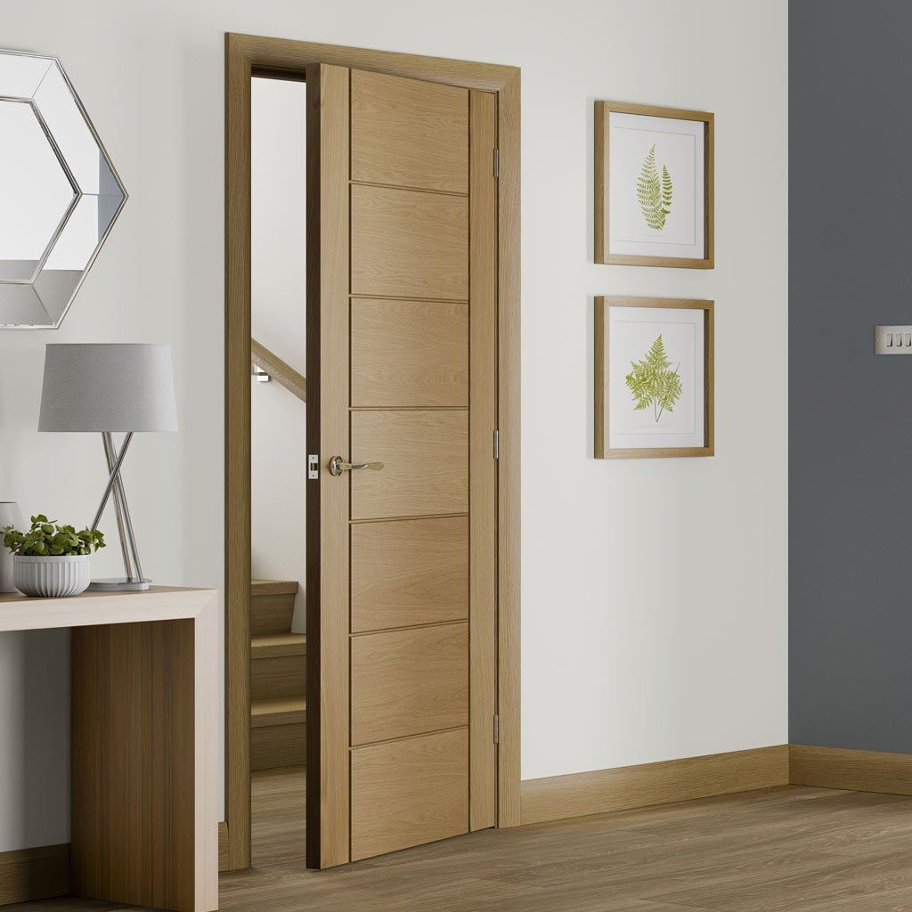 simpli door set palermo oak flush door panelled effect prefinished