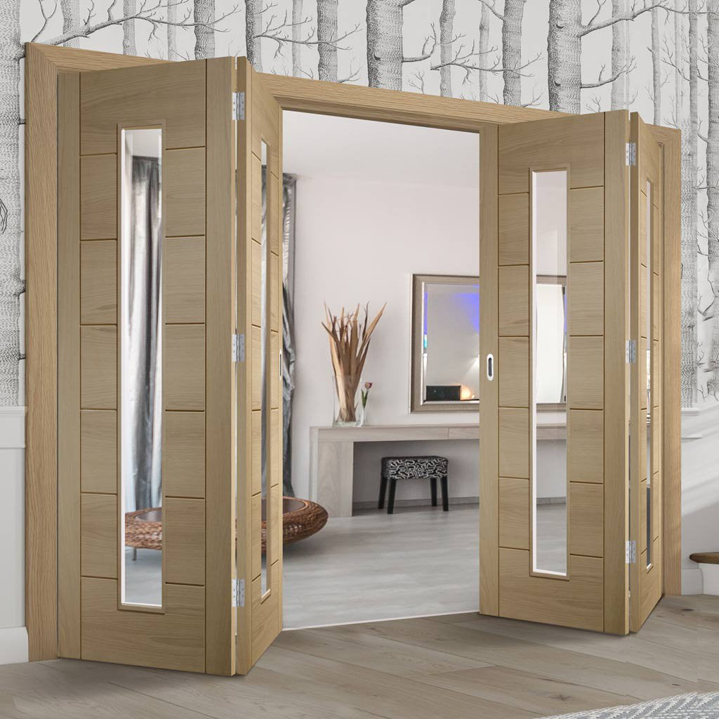 Four Folding Doors & Frame Kit - Palermo Oak 1 Pane 2+2 - Clear Glass - Unfinished