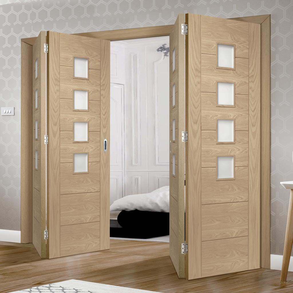 Four Folding Doors & Frame Kit - Palermo Oak 2+2 - Obscure Glass - Prefinished